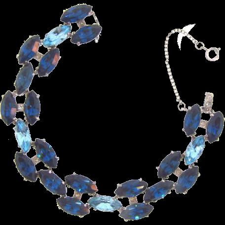Vintage 1950's-1960's rhinestone link Bracelet in shades of blue
