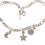 Marked 925 dainty sterling silver Bracelet with three small charms