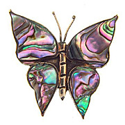 Made in Mexico sterling silver Butterfly brooch with abalone inserts