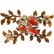 Vintage floral vine Brooch with tiny imitation pearls and branch coral