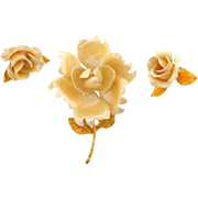 Vintage floral Brooch and clip on Earrings in pastel soft yellow enamel