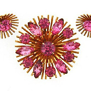 Signed Judy Lee atomic Brooch and clip on earrings with bright pink rhinestones