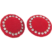 1940's celluloid large button red Earrings with crystal rhinestones
