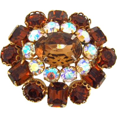 Vintage 1960's domed rhinestone Brooch in fall to winter shades