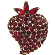 Small vintage figural Strawberry Brooch with red rhinestones