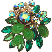 Shades of green vintage rhinestone floral Brooch