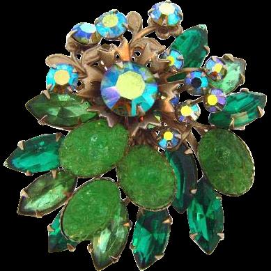 Shades of green vintage rhinestone floral Brooch