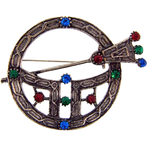 Large Celtic style circular brooch or kilt pin with rhinestones