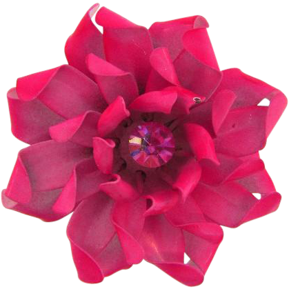 Signed Coro enamel metal flower Brooch in shades of pink