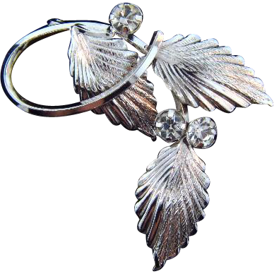 Star - Art sterling leaf Brooch with crystal rhinestones