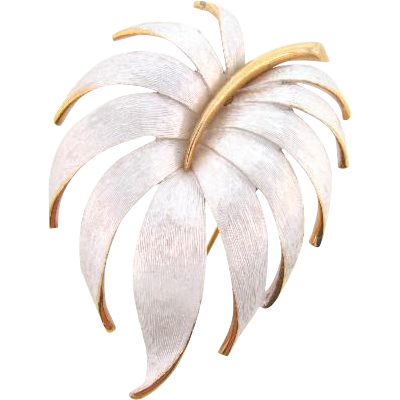 Attractive vintage large leaf brooch with satin matte white finish