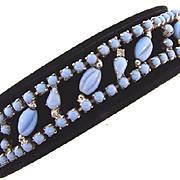Vintage opaque light blue glass and crystal rhinestone Bracelet