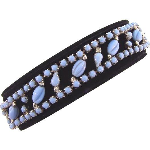 Vintage opaque light blue glass and crystal rhinestone Bracelet