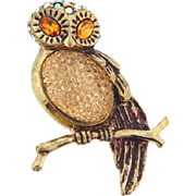 Vintage figural Owl Brooch with rhinestones and Lucite body