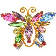 Vintage 1960's rhinestone butterfly Brooch in pastel shades