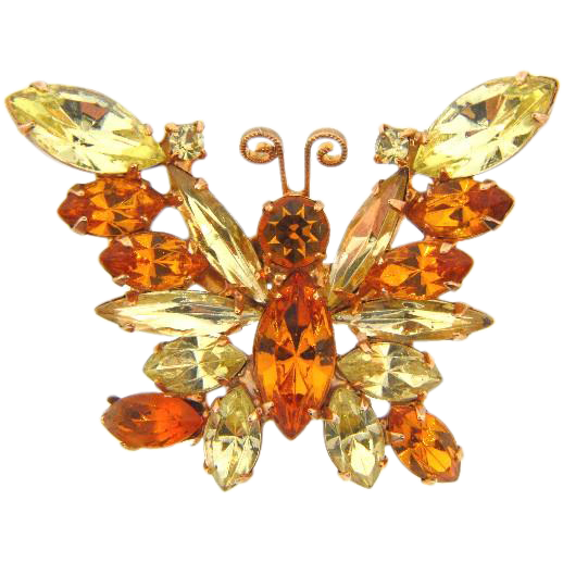 Vintage 1960's rhinestone Butterfly Brooch in amber and citrine fall shades