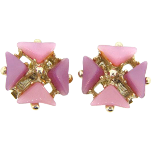 Vintage thermoset clip on Earrings in shades of lavender