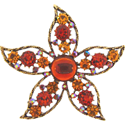 Signed Weiss 1960's floral/starfish Brooch in fall shades of rhinestones