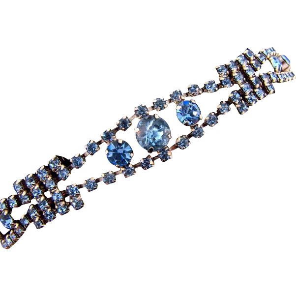 1950's light blue rhinestone Bracelet