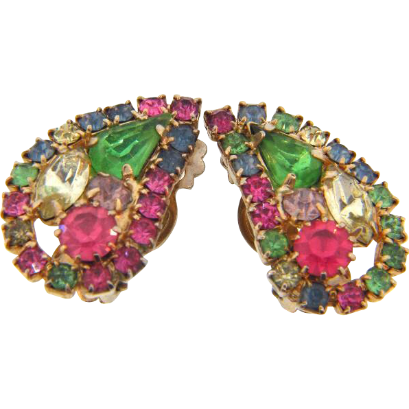 Vintage 1950's clip on Earrings in springtime multicolored shades of rhinestones