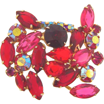 1950's vintage rhinestone Brooch in shades of red and pink