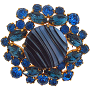 Vintage shades of blue rhinestone Brooch with art glass center glass disk