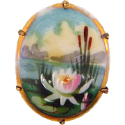 Small hand painted on porcelain Brooch