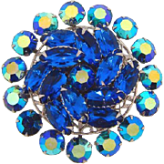 Large circular 1960's rhinestone Brooch in shades of blue - Red Tag Sale Item