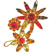 1960's floral Brooch in summer to fall shades of rhinestones