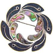 Signed XOLA 925 Sterling Taxco Mexico abstract circular Brooch