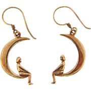 Charming gold filled earrings for pierced ears of crescent moon