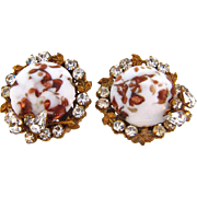Signed Robert clip on Earrings with crystal rhinestones and white cabochon with aventurine