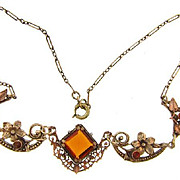 Delicate vintage choker Necklace in a floral design with amber glass stones