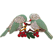 1940's pot metal figural bird Brooch with rhinestones and enamel