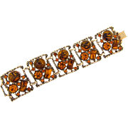 Chunky wide panel Bracelet with rhinestones and adventurine cabochons