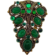 New England Glass Works Art Deco dress clip with emerald green stones