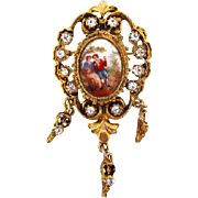 Vintage Renaissance style Brooch with porcelain insert and crystal rhinestones