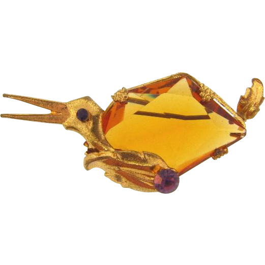 Marked Czechoslovakia unusual duck brooch with large amber glass stone