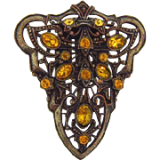 Vintage 1930's Dress Clip with citrine and amber rhinestones