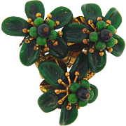 Marked 2Cechoslovakia 1930's Dress Clip with a trio the green flowers