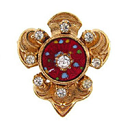 Vintage fleur de lis Brooch with center guilloche disk and crystal rhinestones