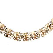 Signed Trifari gold tone link Bracelet with crystal rhinestones