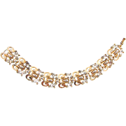 Signed Trifari gold tone link Bracelet with crystal rhinestones