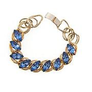 Vintage gold tone link Bracelet with blue rhinestones