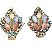 Vintage 1960's clip on Earrings with opaque pastel and AB rhinestones