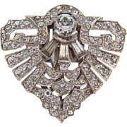 Smaller Art Deco shield shaped Dress Clip with crystal rhinestones