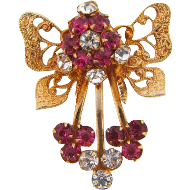 Retro bow Brooch with pink and crystal rhinestones