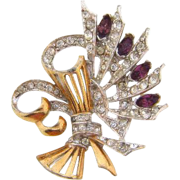 Unique Art Deco brooch with crystal and purple rhinestones