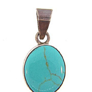 Marked Mexico 925 Sterling Silver Pendant with turquoise stone