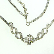Lovely vintage choker Necklace with center ribbon design and crystal rhinestones